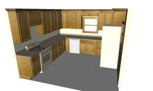 Flat Panel Oak 3d View 2