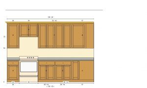 Flat Panel Oak Kitchen Render Elevation 1